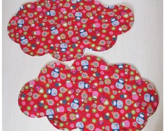 "Carpet fabric cloud shaped nesting Doll ""Matriochkas"" set of 2 cotton"