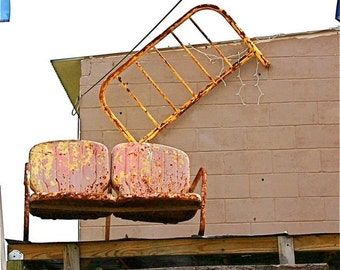 """Chairs: Pink beige yellow rust chairs photograph roof top abstract wall lawn chairs building chairs whimsical """"CHAIRS in SPACE""""  humorous"""
