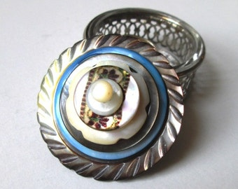 Vintage Button Ring Box:  Blue, White and Smoky Gray Mother of Pearl Floral Vintage Buttons & Sterling Plated Glass Salt Cellar Jewelry Box