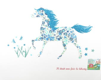 Applied fusing horse blue liberty print and glitter flex horse pattern patch horse iron fusible horse pattern