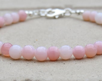 Pink Opal Smooth Bead Bracelet