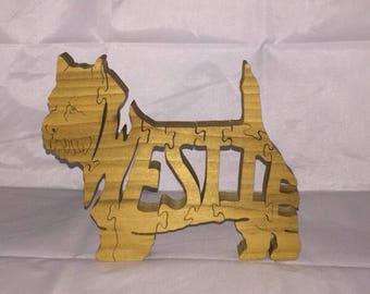 Westie dog wooden jigsaw puzzle