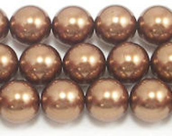 16mm Bronze Glass Pearl Beads 15.5 inch strand Grade AAA bronze round glass pearls