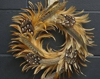 Decorative Natural Pheasant Feather Wreath -  WRHGP16--N