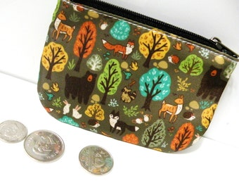 Forest Coin Purse Zippered Pouch, Small Pouch, Accessory