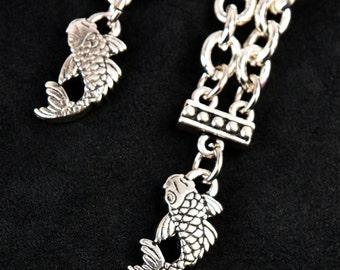 Koi Charm Earrings, Nature Inspired Earrings, Dangle Earrings, Two Chain Earrings, Asian Inspired Silver Earrings, Unique Mom Gift for Her