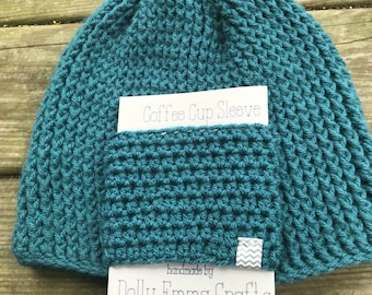 Crochet Coffee Cozy, Crochet Coffee cup Cozy, Teacher gift, Cup Sleeve - Teal cup cozy for hot and cold drinks, coffee lovers gift