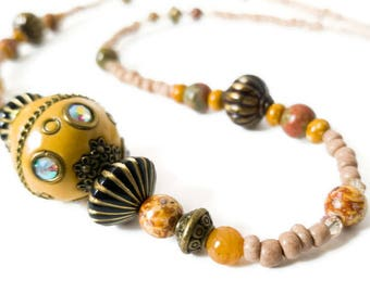 Yellow and tan semi precious stone, jasper, and glass beaded necklace