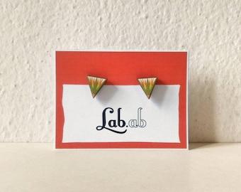 Pow! Walk Like an Egyptian - MINI green papyrus - Paper on Wood earrings - stud earrings - triangle