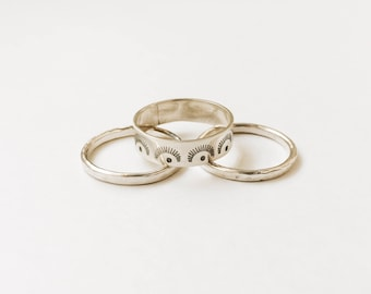 Sunray Stacker and/or Stacking Set, Sterling Silver Stacking Rings