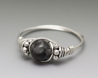 "Larvakite ""Black Labradorite"" Bali Sterling Silver Wire Wrapped Bead Ring - Made to Order, Ships Fast!"
