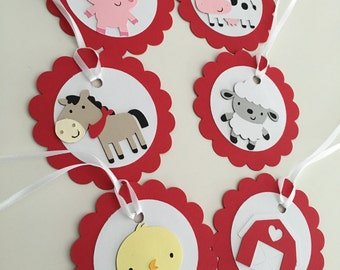 12 Farm Animal Gift Tags | Farm Favor Tags | Farm Party Decor | Barnyard Gift Tags | Barnyard Favor Tags | Barnyard Party Supplies