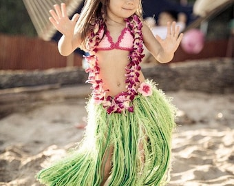 Baby Girl or Toddler Hawaiian HULA Set w Barefoot SANDALS Photo Prop Grass Skirt - Bikini or Coconut Bra Headband Sandals - Made to Order