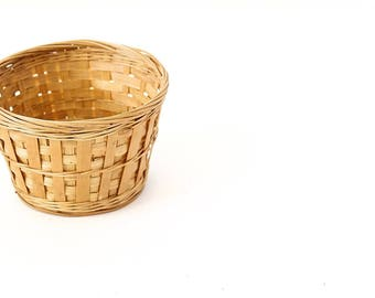 Plant Basket | Vintage Woven Basket | Rattan Basket | Small Basket | Small Plant Basket | Plant Holder | Woven Basket | House Plant Basket