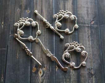 Silver Toggle Clasp - Silver Decorative Clasp - Silver Square Scroll Toggle Clasp