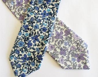 Floral Necktie ~ made in blue mitsi Valeria ~ small floral ~ men's tie ~ necktie ~ cravat oPo6rMbN