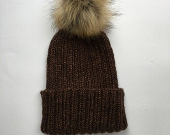 Ribbed knit beanie - Selenga beanie - simple ribbed knitted hat - faux fur pom knit hat - slouchy ribbed beanie