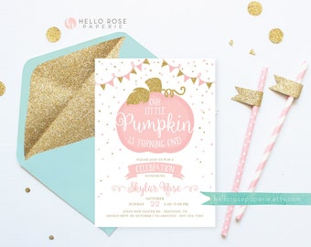 Little Pumpkin is Turning One . First Birthday Invitation . Pumpkin Girl Birthday . Invitation Printable . Pink and Gold . Digital Download