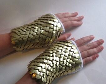 Scale Mail Fingerless Gloves Griffin Dragonhide Gauntlets