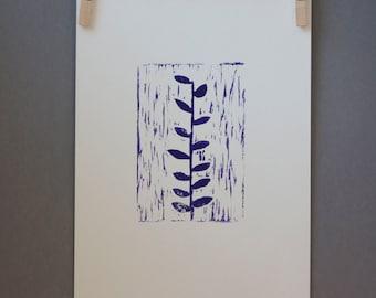 Woodland Deep Purple Ivy Garden Linocut PRINT Ivy Plant 9x12