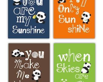 Art for kids Panda art for Kids You Are My Sunshine 4 prints in 8x10 nursery art, baby shower gift