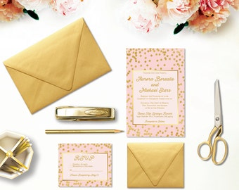 Blush and Gold Wedding Invitations - PRINTED