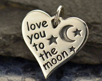 Love You to the Moon Sterling Silver Charm