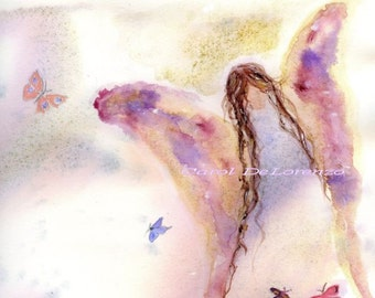 Watercolor Painting, Angel Art, Angel Painting, Angel Watercolor, Art Angel, Butterfly Art, Angel Art Print Titled Butterfly Angel