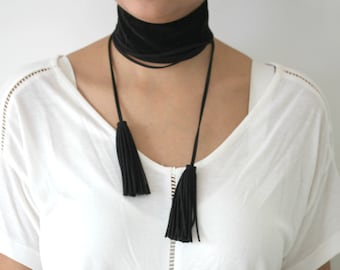 Black Velvet Bohemian Choker/ Multilayer Long Choker Necklace-SALE!