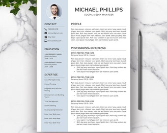 Professional Resume Template For Word, Creative CV Resume Template, Cover Letter, Modern Resume, Simple Resume Design, MICHAEL