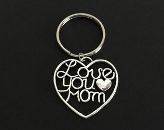 Mom Key Chain. Love You Mom Key Chain.  Heart Key Chain. Charm Key Chain. Mother's Day Gift. Stocking Stuffer Ideas for Mom.