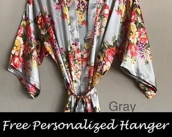 Bridesmaid Robes, Floral Robes, Floral Bridesmaid Robes, Satin Robes, Silk Robes, Kimono, Robe, Robes for Bridesmaids, Bridal Robe