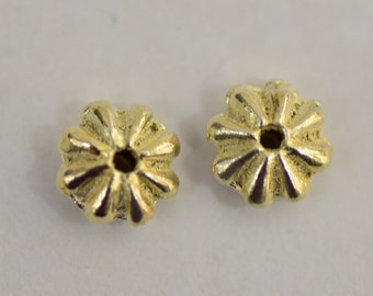 Jewelry,Lot of 200,Gold tone,Metal,Endcaps,Fluted,Flower