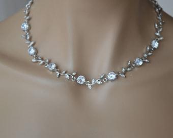 Zirconia Necklace,Bridal Necklace,Zircon,Cubic Zirconia,CZ Necklace,Bridal jewelry Set.