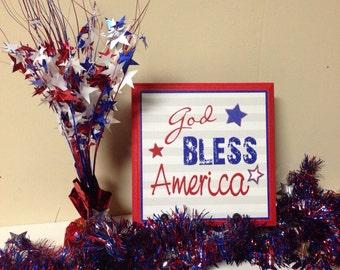 God Bless America Wood Canvas Plaque
