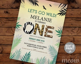 One Jungle Invitation Birthday Invite Safari go Wild INSTANT DOWNLOAD Zoo First Children Personalize TWINS Editable Printable Template