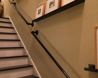 Stair Hand Rail / Bannister With Brackets - Vintage From Industrial Pipe Fittings