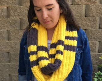 Yellow and Black Infinity Scarf; Bookish Scarf; House Scarf