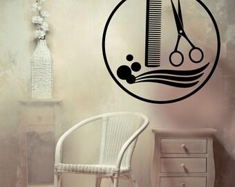 Vinyl Wall Decal Hair Beauty Salon Logo Scissors Brush Best Seller Wall Decor caig2091
