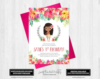 Moana Birthday Invitation Girls Tropical Floral Party Invites Printable Digital File or Printed Invitations Summer Hibiscus Island