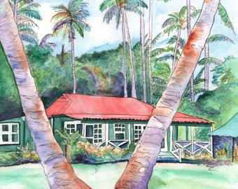 Kauai Plantation Cottage 8x10 print from Kauai Hawaii Peeking Between the Palm Trees