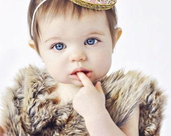 First Birthday Crown   1st Birthday Girl Outfit   Felt Birthday Crown   Baby Girl First Birthday Hat   First Birthday Girl   Blush Gold