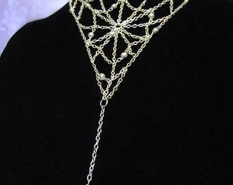Gothic Jewelry - Dewdrop Spiderweb Necklace [DSN]