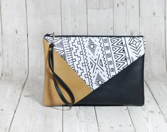 Envelope clutch purse, Zipper pouch leather cluch bag, Evening clutch leather, Vegan Leather wristlet clutch, Black clutch handmade handbag