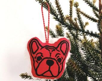 Fleecy Frenchie Christmas Decoration