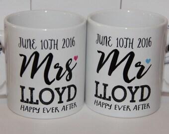 ShMug Personalised 'Mr & Mrs' Printed Mug / Cup - Great for wedding or anniversary gift!