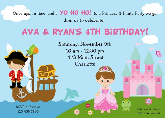 Pirate and princess birthday party invitation pirates and like this item filmwisefo Choice Image