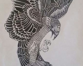 Detailed bird ink drawing
