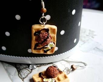 Waffle earrings chocolate banana square polymer clay