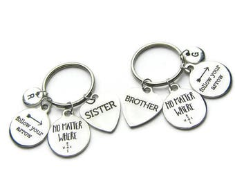 2  Follow Your Arrow  No Matter Where Keychains, Brother Sister Keychains, No Matter Where Keychains, Sister Brother Keychains ,Personalized